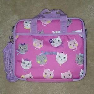 """Pottery Barn Cat Lunch Box """"Laura"""" Embroidery"""